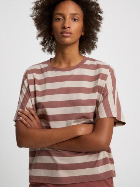 ARMEDANGELS T-Shirt Kajaa Block Stripes dusty rose/light desert