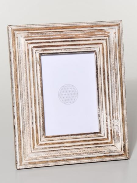 FOTORAHMEN Mangoholz Rillen weiß 22 x 29 cm