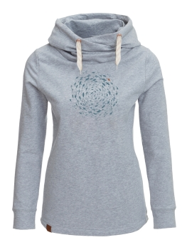 GREENBOMB Hoodie Lucky Animal Fish Circle heather grey