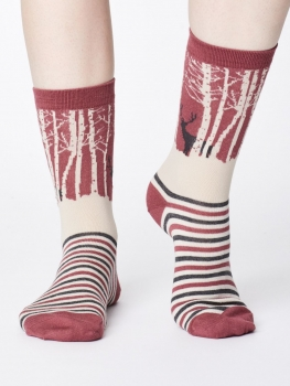 THOUGHT Socks Winter Woodland rose pink