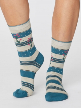 THOUGHT Socks Floral and Stripe kingfisher