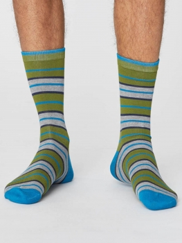 THOUGHT Socks Rugby Stripes olive green