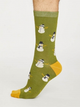 THOUGHT Socks Snowmen olive